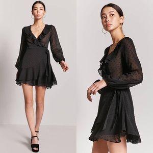 Black Sheer Ruffle Wrap Dress